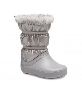 Crocs Girls' Crocband™ LodgePoint Metallic Winter Boot Silver Metallic